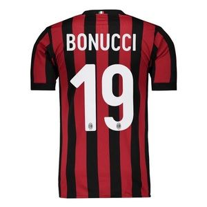 Red Black Stripe Bonucci Jersey AC Milan Home